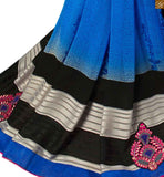 Blue georgette saree with grey pallu blue georgette eye-catching printed saree with piping lace border and blue three fourth type blouse Pic