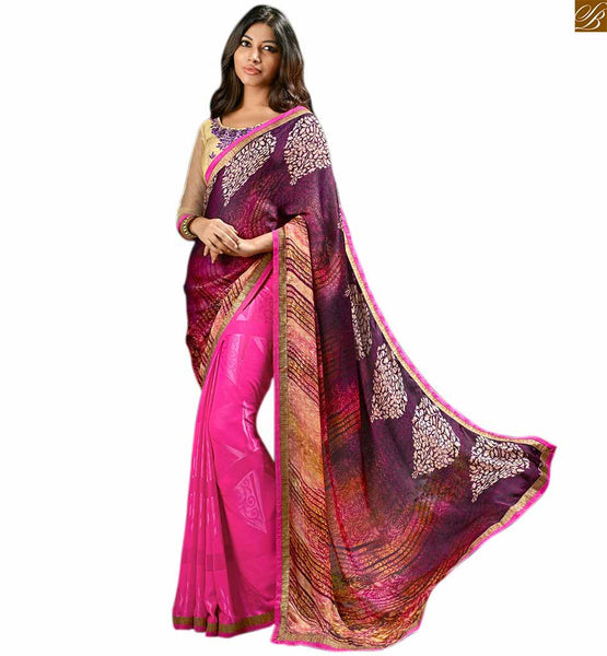 Pink georgette sari with multi print designer pallu pink geogette multi color printed saree with lace border and cream floral embroidered blouse Image