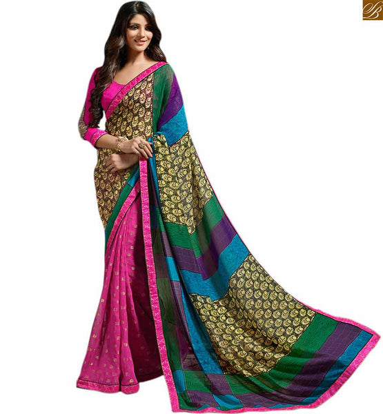 Pink colored designer georgette printed sari with lace border pink georgette printed designer saree with lace border and pink art-silk low neck desing blouse Image