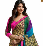 Zari embroidery butta work is provided on blouse and the sleeves are of three fourth type Image