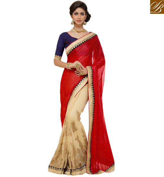 STYLISH BAZAAR CLASSY CREAM AND MAROON ENRICHED DESIGNER SAREE RTANT117