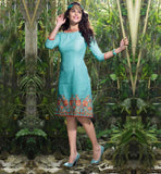 ONLINE CHEAP KURTI SHOPPING LINEN KNEE HEIGHT FLORAL EMBROIDERY