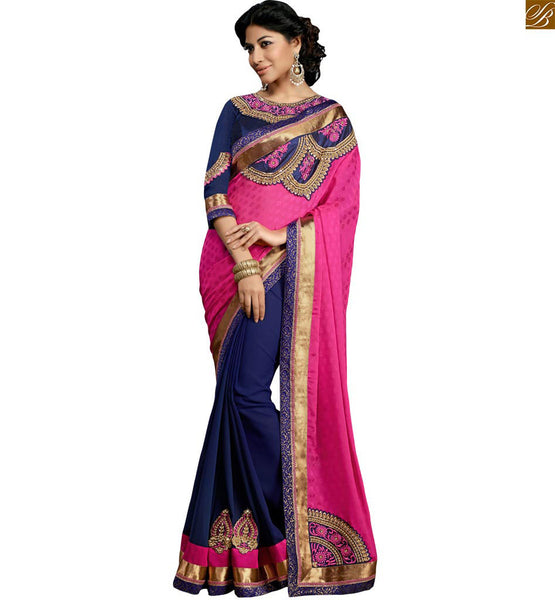 STYLISH BAZAAR MARVELOUS PINK AND BLUE DESIGNER SAREE BLOUSE RTSWA11801