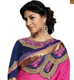 FROM STYLISH BAZAAR MARVELOUS PINK AND BLUE DESIGNER SAREE BLOUSE RTSWA11801