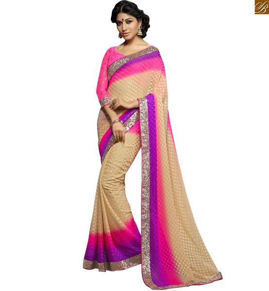 PLEASING PEPPY PASTEL COLORS IN SARI TEAMED UP WITH A DESIGNER BLOUSE RTSWA11804