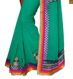 STYLISH BAZAAR PRESENTS WONDERFUL GREEN SARI COMPLEMENTED WITH A BLUE DESIGNER BLOUSE RTSWA11805