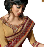 A STYLISH BAZAAR PRESENTATION DELIGHTFUL CREAM CHIFON DESIGNER SAREE BLOUSE RTSWA11806