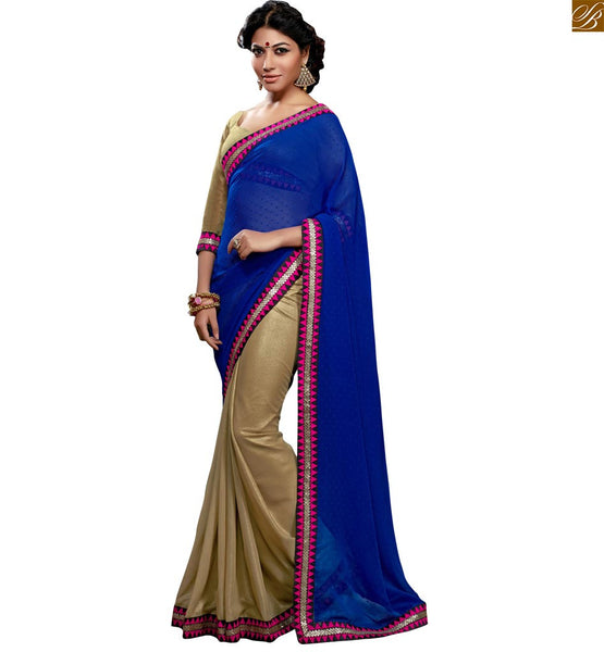 FROM THE HOUSE  OF STYLISH BAZAAR APPEALING BLUE AND CREAM GEORGETE SAREE AND BLOUSE RTSWA11808