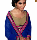 BROUGHT TO YOU BY STYLISH BAZAAR APPEALING BLUE AND CREAM GEORGETE SAREE AND BLOUSE RTSWA11808