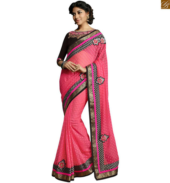STYLISH BAZAAR ELEGANT AND UNIQUE CHIFFON SAREE AND ART SILK BLOUSE DESIGN RTSWA11811