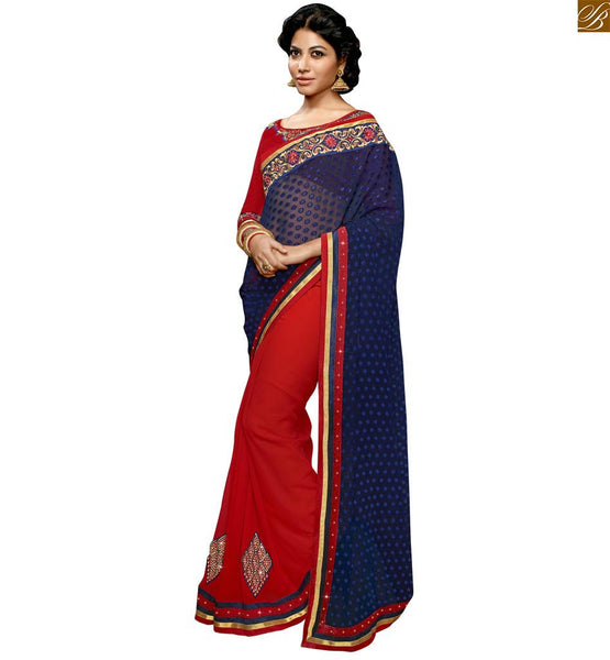 STYLISH BAZAAR INTRODUCES EYE CATCHING RED SAREE ALONG WITH A DESIGNER BLOUSE RTSWA11813