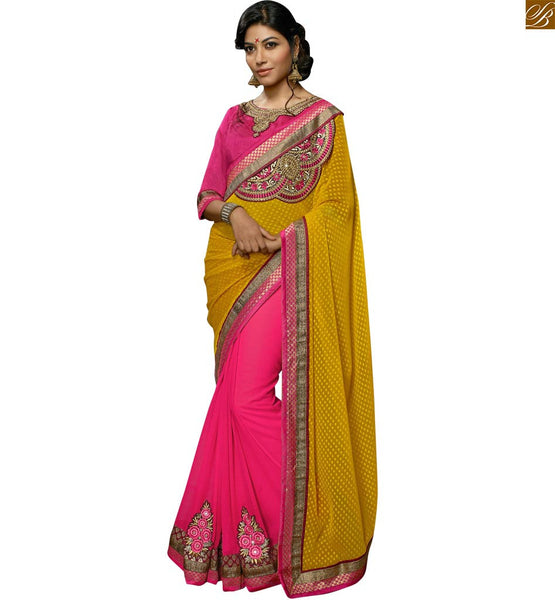 STYLISH BAZAAR PRESENTS EXCUSITE CAUSAL WEAR PINK SAREE BLOUSE DESIGN RTSWA11814