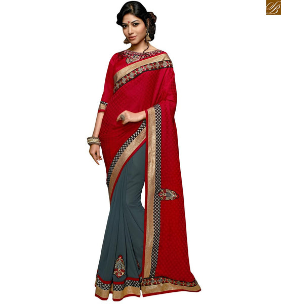 STYLISH BAZAAR INTRODUCES CAPTIVATING MAROON CASUAL WEAR RED DESIGNER SARI RTSWA11818