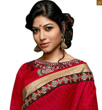 FROM STYLISH BAZAAR CAPTIVATING MAROON CASUAL WEAR RED DESIGNER SARI RTSWA11818
