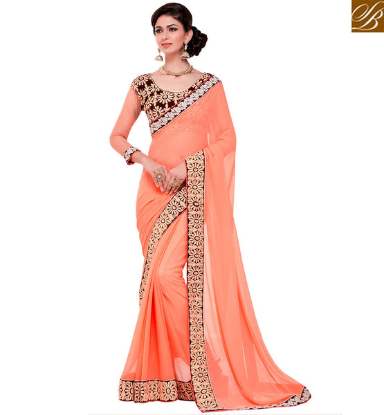 STYLISH BAZAAR FASCINATING ORANGE DESIGNER SARI WITH EMBROIDERED BLOUSE RTANT119