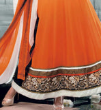 lace border design on orange suit