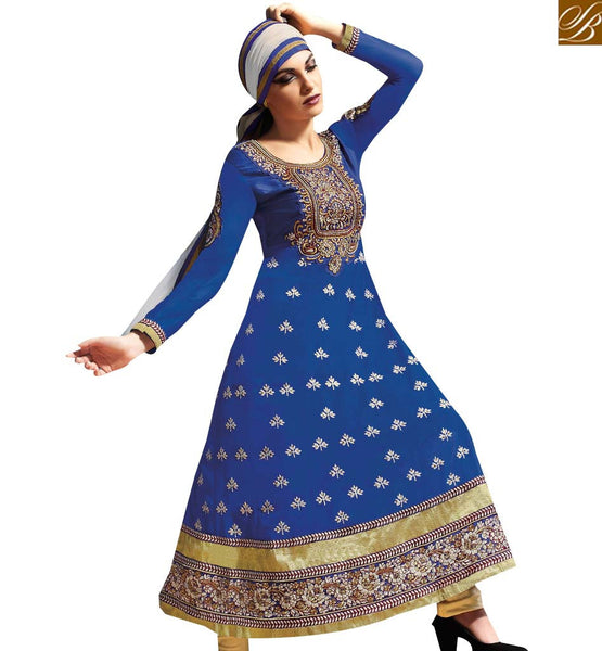 ELEGANT BLUE GEORGETTE PARTY WEAR ANARKALI DRESS RTASM11