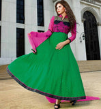 ANARKALI DESIGN 2015 GREEN LONG LENGTH DRESS BY STYLISH BAZAAR
