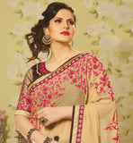 GLAMOROUS BOLLYWOOD STAR ZARINE KHAN IN RAW SILK BLOUSE SAREE