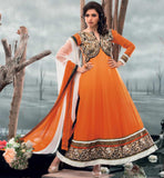 Bhagyashree in beautiful orange anarkali dress.
