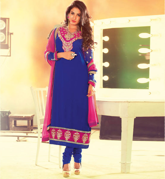 PURCHASE BEAUTIFUL BLUE PARTY WEAR GEORGETTE DRESS MATERIAL FOR WOMEN