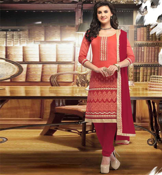 SIMPLE SOBER BANARASI CHANDERI STRAIGHT PATTERN SALWAR KAMEEZ DRESS VDRCH1661