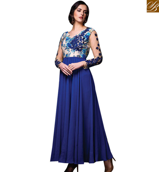 STYLISH BAZAAR APPRECIATING BLUE SILK DESIGNER GOWN HAVING EMBROIDERY WORK ON CHEST AND SLEEVES SLISM11