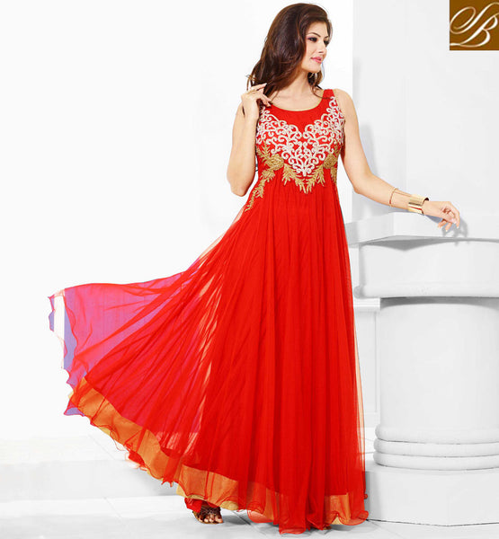 Red Indian evening gowns, women evening gowns, long evening dresses online shopping India