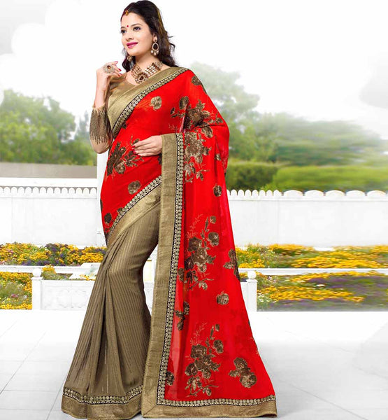 ONLINE SHOPPING FOR DESIGNER GEORGETTE STYLISH BAZAAR SAREE RED CHIKOO GEORGETTE