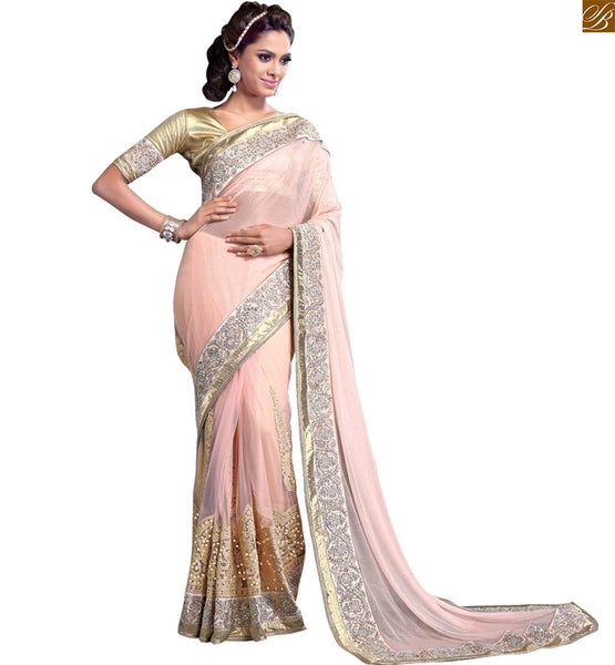 BROUGHT TO YOU BY STYLISH BAZAAR IMPRESSIVE PEACH EMBROIDERED SARI ALONG WITH CREAM BLOUSE RTMAG12