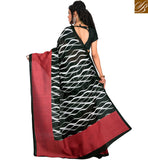 BROUGHT TO YOU BY STYLISH BAZAAR ATTRACTIVE BLACK WAVE PRINT DESIGN SAREE RTVAN12