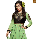 FROM STYLISH BAZAAR INVITING PISTA GREEN GEORGETTE DESIGNER ANARKALI SALWAR KAMEEZ KEEP BLACK EMBROIDERY WORK SLZOL12001