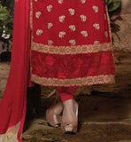 PICTURE  OF STRAIGHT PATTERN SALWAR KAMEEZ WITH FLORAL EMBROIDERY
