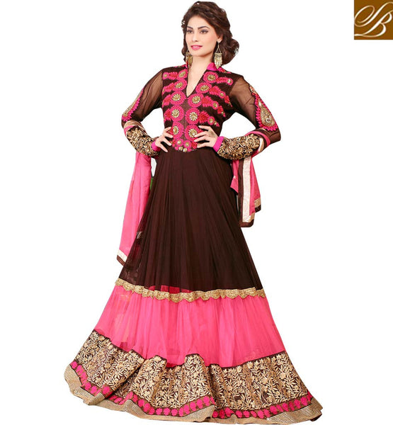 POOJA GUPTA BROWN & PINK ANARKALI