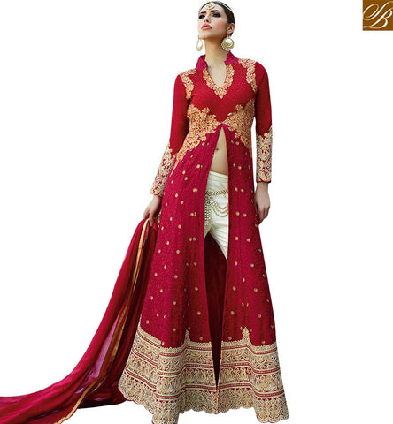 STYLISH BAZAAR TANTALIZING RED & PINK COLORED ANARKALI SUIT WITH SLIT CUT GLMAK1201