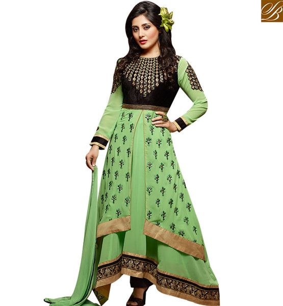 STYLISH BAZAAR INVITING PISTA GREEN GEORGETTE DESIGNER ANARKALI SALWAR KAMEEZ KEEP BLACK EMBROIDERY WORK SLZOL12001