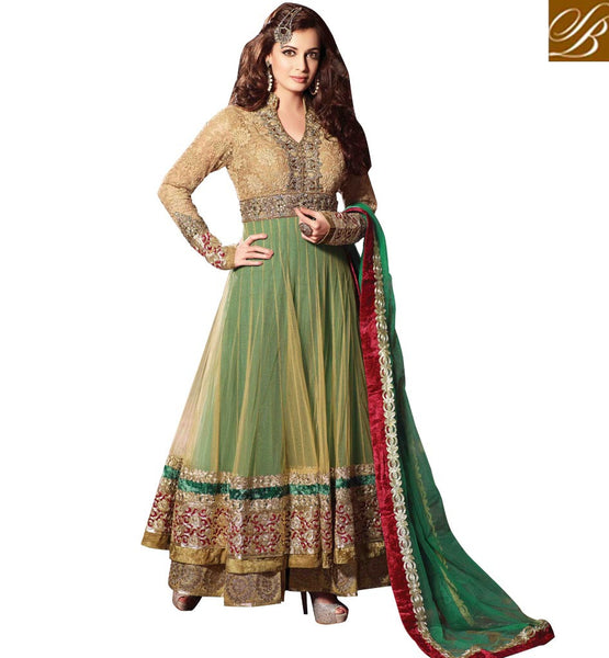 DIA MIRZA FLOOR LENGTH  DESIGNER ANARKALI SUIT