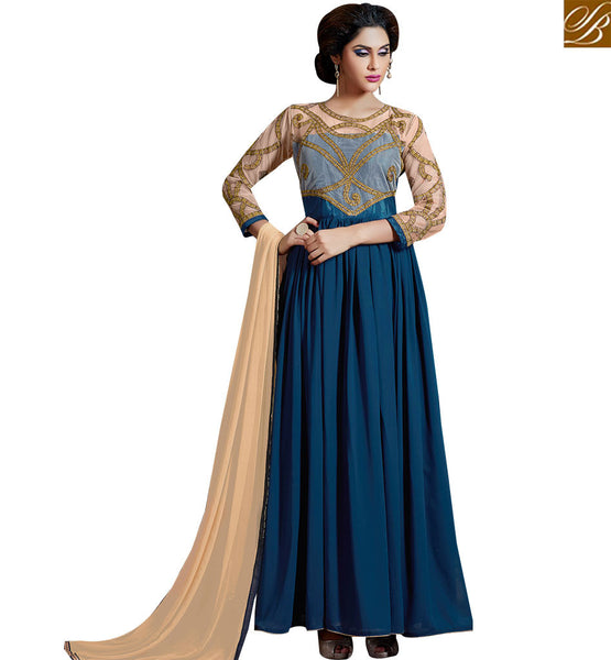 STYLISH BAZAAR CHARMING ANARKALI STYLE BLUE COLORED DESIGNER SUIT SLAKR12001