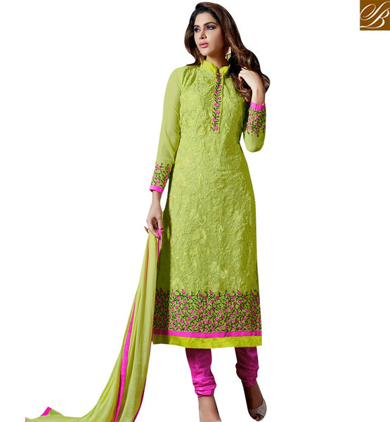 STYLISH BAZAAR ALLURING GREEN COLORED SALWAR SUIT WITH ATTRACTIVE EMBROIDERED WORK SLAKR12002