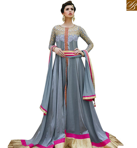 STYLISH BAZAAR LOVELY GREY COLRED ANARKALI SUIT WITH DESIGNER CUT GLMAK1202