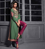 12002 maisha maskeen addiction green georgette long kurti pant style silk jacquard salwar
