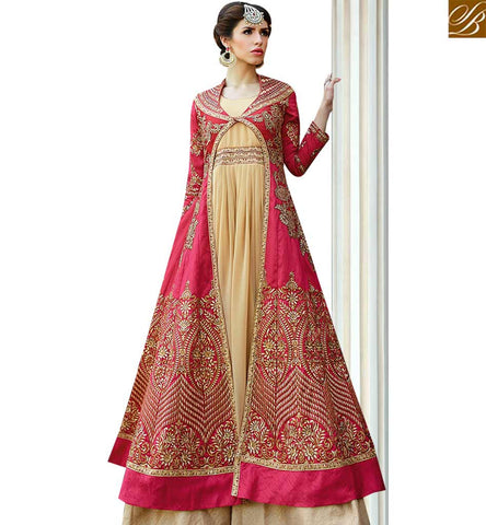 STYLISH BAZAAR RAVISHING PINK AND BEIGE COLORED JACKET STYLE DESIGNER SUIT GLMAK1203