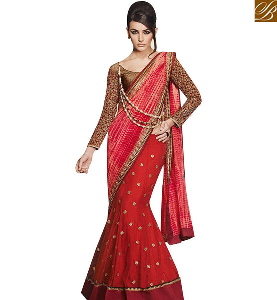 STYLISH BAZAAR PREMIUM RED GEORGETTE DESIGNER SAREE WITH HEAVY EMBROIDERED DHUPION BLOUSE NKEVR12003