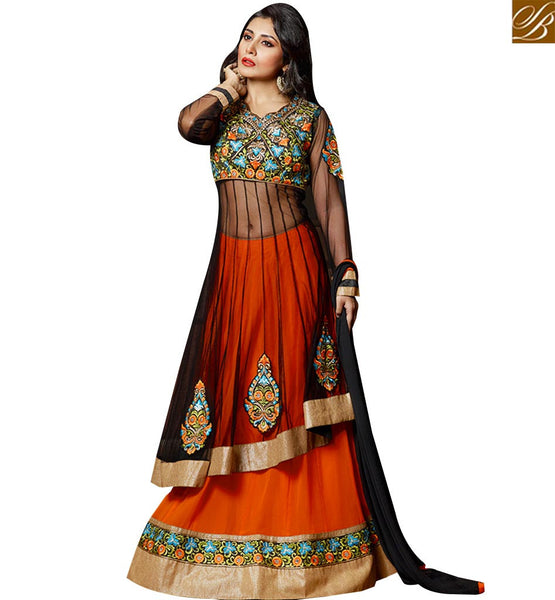 STYLISH BAZAAR BLACK NET ANARKALI SUIT HAVING PATCH WORK WITH ORANGE LEHENGA KEEP LACE BORDER WORK SLZOL12003