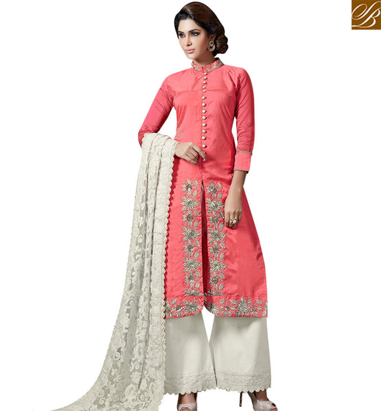 STYLISH BAZAAR APPEALING PINK COLORED PLAZZO STYLE SALWAR KAMEEZ SLAKR12003