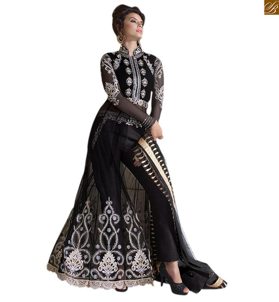 Zoya Collection Splendid Royal Black Anarkali Dress with dual combination 12004