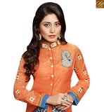BROUGHT TO YOU BY STYLISH BAZAAR BEAUTIFUL ORANGE & BLUE DESIGNER SALWAR KAMEEZ WITH EMBROIDERED TROUSER SLZOL12004