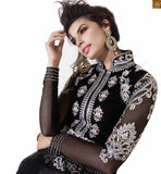 One of its kind, black Velvet and satin Zoya Anarkali Dress . The beauty of this dress lies in its unique design and color combination of fabric and embroidery work. Make it a normal salwar kameez with pant or make it in a skirt style.