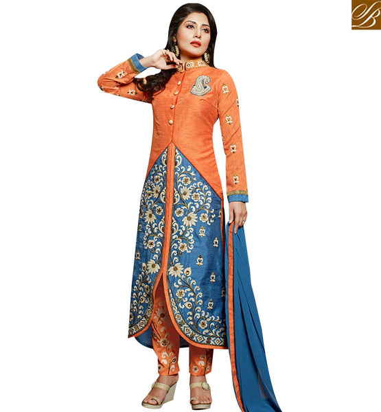 STYLISH BAZAAR BEAUTIFUL ORANGE & BLUE DESIGNER SALWAR KAMEEZ WITH EMBROIDERED TROUSER SLZOL12004