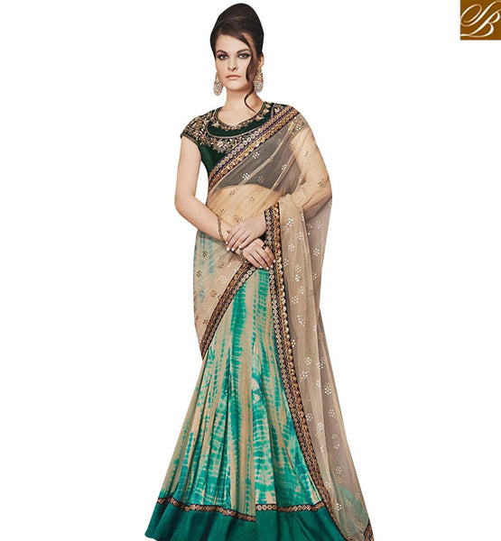 STYLISH BAZAAR GOOD LOOKING GREEN GEORGETTE AND BEIGE NET PALLU WITH LEHENGA STYLE NKEVR12004